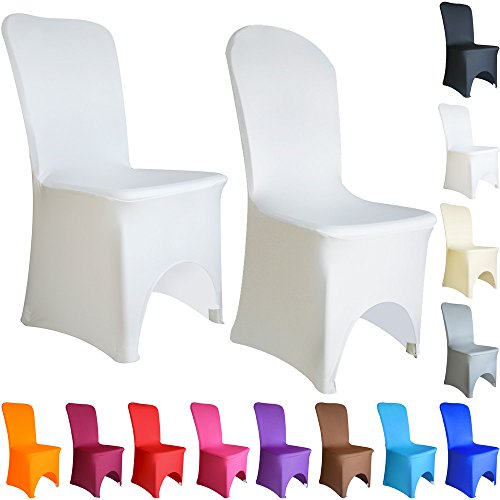 TtS 100 PCS Chair Covers Spandex Lycra Universal Slipcovers Dining Chair Cover Wedding Banquet Party Arched Front - White from Time to Sparkle
