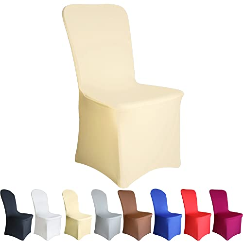 TtS 100 PCS Chair Covers Spandex Lycra Universal Slipcovers Dining Chair Cover Wedding Banquet Party Flat Front - Ivory from Time to Sparkle