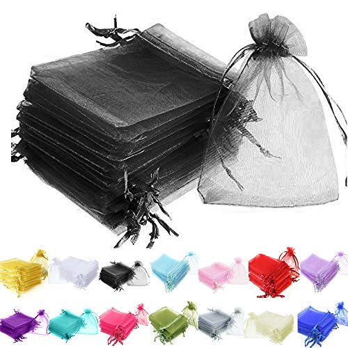 TtS 100pcs 7x9cm Organza Gift Bags Wedding Party Favour Jewellery Packing Pouches - Black from Time to Sparkle