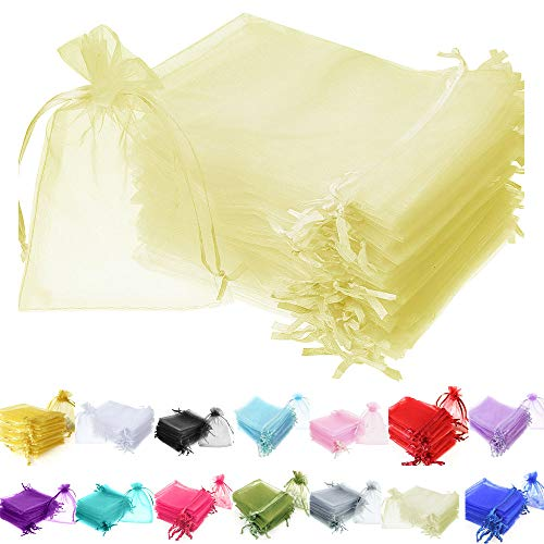 TtS 100pcs 7x9cm Organza Gift Bags Wedding Party Favour Jewellery Packing Pouches - Light Yellow from Time to Sparkle
