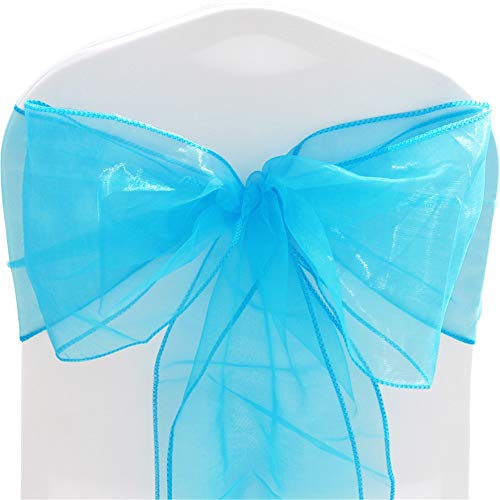 TtS Pack of 100 Organza Sashes Chair Cover Bows Sash Wider Sash Fuller Bows Wedding Party Birthday Decoration - Aqua from Time to Sparkle