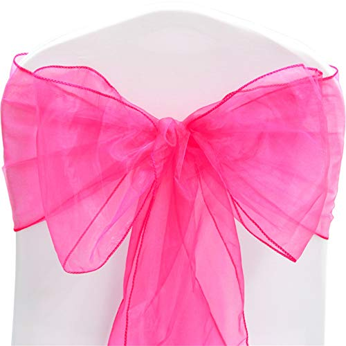 TtS Pack of 100 Organza Sashes Chair Cover Bows Sash Wider Sash Fuller Bows Wedding Party Birthday Decoration - Fuchsia from Time to Sparkle