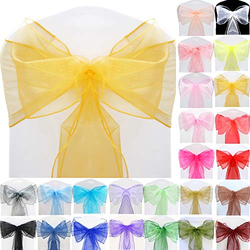 TtS 10pcs Organza Sashes Wider Sash Fuller Bows Chair Cover Bows Sash for Wedding Party Birthday Decoration - Champagne Gold from Time to Sparkle
