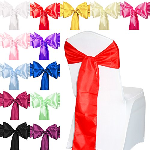 TtS 10pcs Satin Chair Cover Sashes Bow Satin Back Tie Ribbon Wedding Reception Banquet Decoration from Time to Sparkle