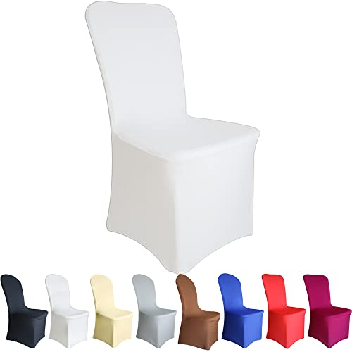 TtS 20 PCS Chair Covers Spandex Lycra Universal Slipcovers Dining Chair Cover Wedding Banquet Party Flat Front - White from Time to Sparkle