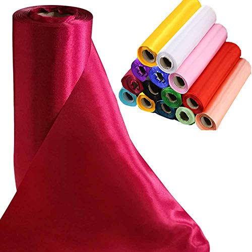 Time to Sparkle TtS 29cmx20m (Burgundy) Satin Roll Sash Fabric Chair Cover Bows Table Runner Sashes Swags for Wedding Party from Time to Sparkle