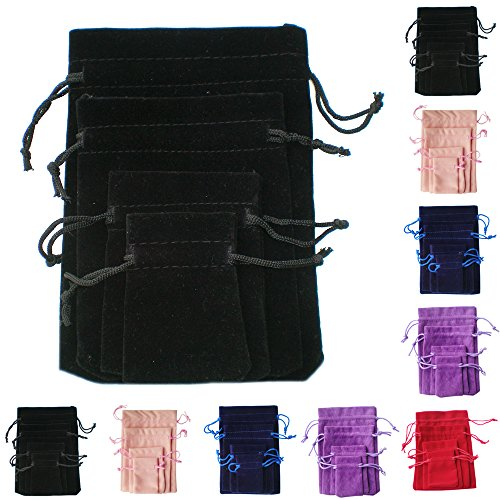 TtS 50pcs 10X13cm Velvet Pouches Bags Drawstring Jewelry Gift Packaging - Black from Time to Sparkle