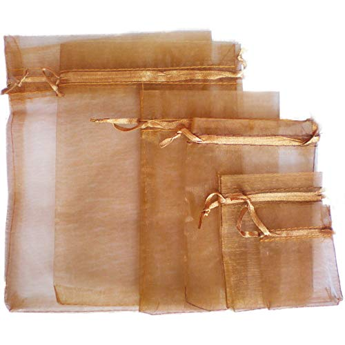 TtS 50pcs 15x20cm Organza Gift Bags Wedding Party Favour Jewellery Packing Pouches - Chocolate from Time to Sparkle