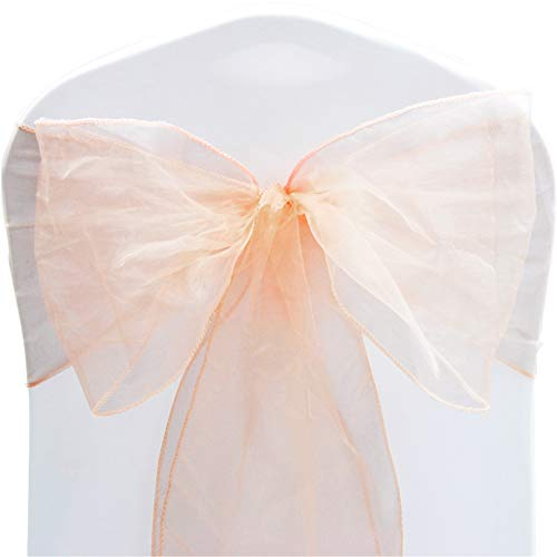TtS Pack of 50 Organza Sashes Chair Cover Bows Sash Wider Sash Fuller Bows Wedding Party Birthday Decoration -Peach Melba from Time to Sparkle