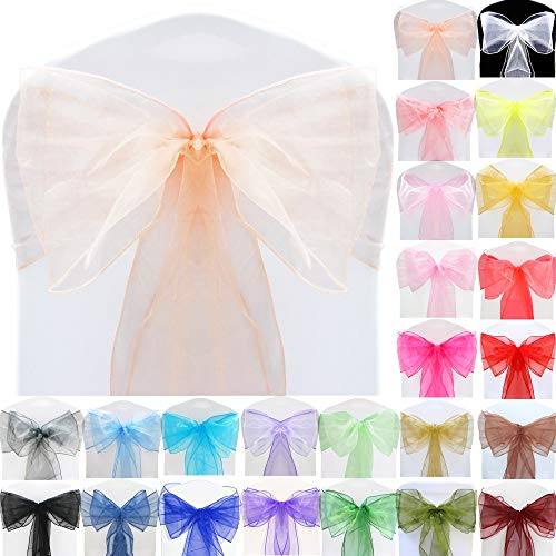 TtS 50pcs Organza Sashes Wider Sash Fuller Bows Chair Cover Bows Sash for Wedding Party Birthday Decoration - Peach from Time to Sparkle