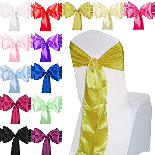 TtS 50pcs Satin Chair Cover Sashes Bow Satin Back Tie Ribbon Table Runner Wedding Reception Banquet Decoration - Gold from Time to Sparkle