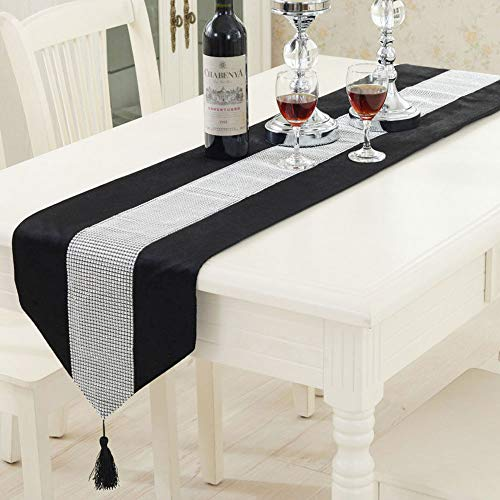 TtS Black Velvet Diamante Table Runner With Tassels Chenille Sparkle Velvet look Wedding Table Decoration 13X108inch (33 x 275cm) from Time to Sparkle