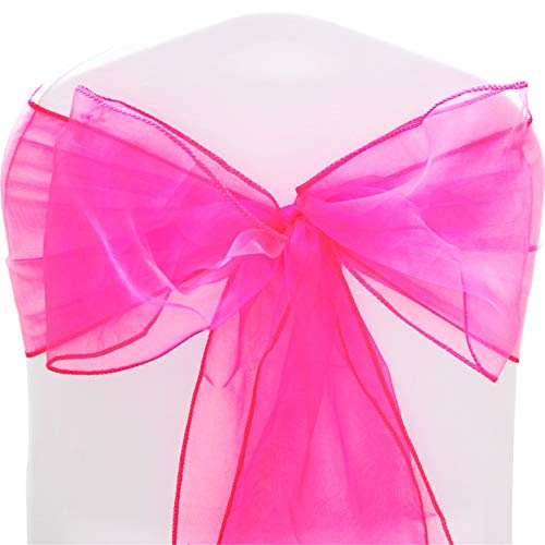 TtS Organza Sashes Chair Cover Bows Wider Sash Fuller Bows for Wedding Party Birthday Decoration - Hot Pink from Time to Sparkle