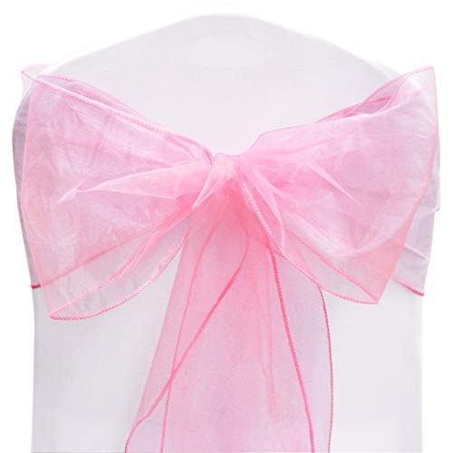 TtS Organza Sashes Chair Cover Bows Wider Sash Fuller Bows for Wedding Party Birthday Decoration - Pink from Time to Sparkle