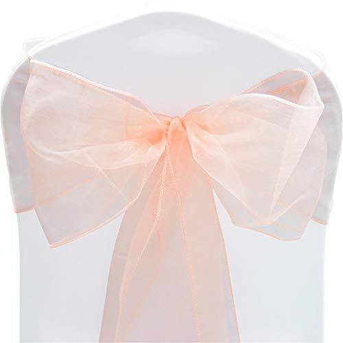 TtS Pack of 10 Organza Sashes Chair Cover Bows Sash Wider Sash Fuller Bows Wedding Party Birthday Decoration - Peach Schnapps from Time to Sparkle