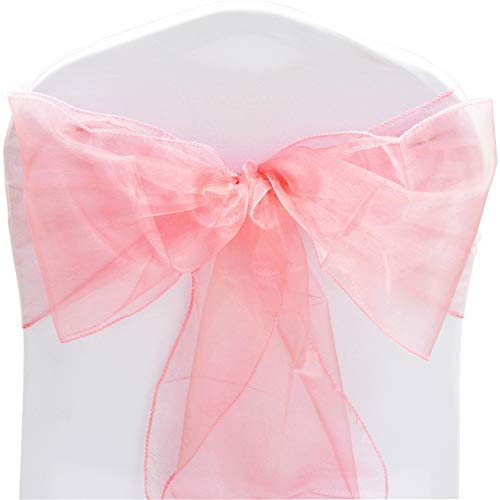 TtS Pack of 100 Organza Sashes Chair Cover Bows Sash Wider Sash Fuller Bows Wedding Party Birthday Decoration - Coral from Time to Sparkle