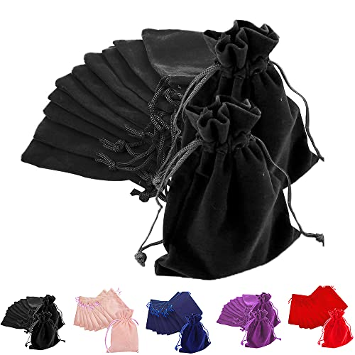 TtS Pack of 20 (Black) Velvet Pouches Wedding Bags Drawstring Jewelry Gift Packaging - 7X9cm from Time to Sparkle
