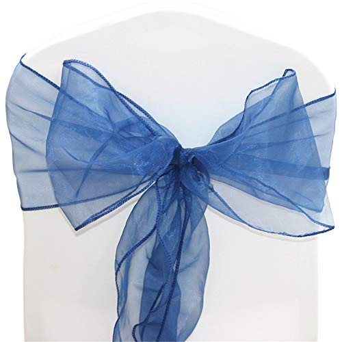 TtS Pack of 50 Organza Sashes Chair Cover Bows Sash Wider Sash Fuller Bows Wedding Party Birthday Decoration -Navy Blue from Time to Sparkle