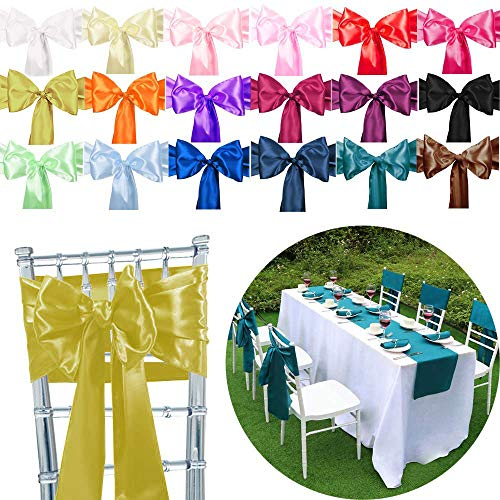 TtS Pack of 50 Satin Chair Cover Sashes Bow Satin Back Tie Ribbon Table Runner Wedding Reception Banquet Decoration (Gold) from Time to Sparkle