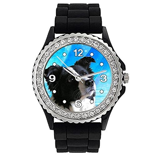 Timest - Border Collie - Crystal Rhinestone Black Jelly Silicone Wrist Watch Round Analogue Quartz CSE003 from Timest