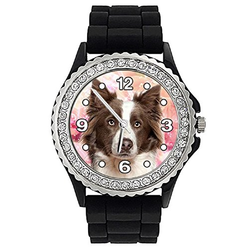 Timest - Border Collie - Women's Crystal Rhinestone Wrist Watch with Silicone Strap SGP143 from Timest