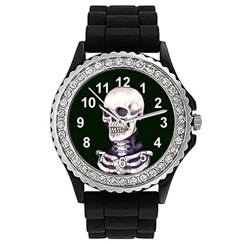 Timest - Skeleton - Crystal Rhinestone Black Jelly Silicone Womens Wrist Watch Round Analogue Quartz CSG035 from Timest