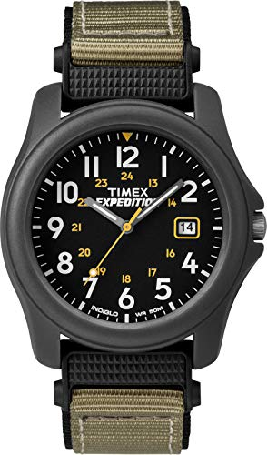 Timex Unisex T42571 Quartz Expedition Camper Watch with Black Dial Analogue Display and Green/Black Strap from Timex