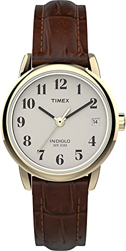 Timex Women T20071 Quartz Easy Reader Watch with White Dial Analogue Display and Brown Leather Strap from Timex