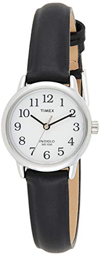 Timex Women's T20441 Quartz Easy Reader Watch with White Dial Analogue Display and Black Leather Strap from Timex