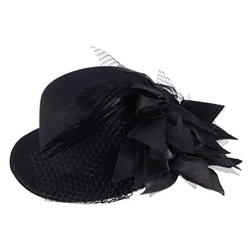 WINOMO Flower Decor Hair Clip Feather Fascinator Burlesque Punk Mini Top Hat for Women - One Size (Black) from WINOMO