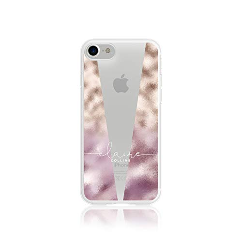 Personalised Iphone 5 / 5s / SE 2016 Tirita Marble Bling Rose Gold Sparkling Silicone Clear Soft TPU Rubber Gel Phone Case PRINTED GLITTER, NO REAL GLITTER Custom Initials from Tirita LTD
