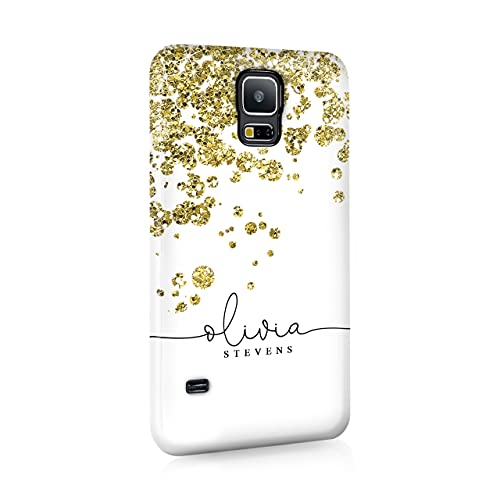 Personalised Samsung Galaxy S3 Tirita Hard Case Cover PRINTED GLITTER, NOT REAL GLITTER Rose Gold Glitter Drops Polka Dots Festive Elegant Confetti Custom Initials Name Bling from Tirita LTD