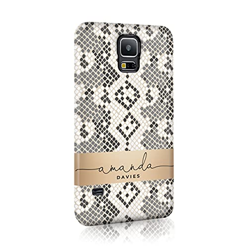 Personalised Samsung Galaxy S4 Tirita Hard Case Cover PRINTED GLITTER, NOT REAL GLITTER Animal Print Gold Leopard Snake Skin Custom Initials Name Bling from Tirita LTD