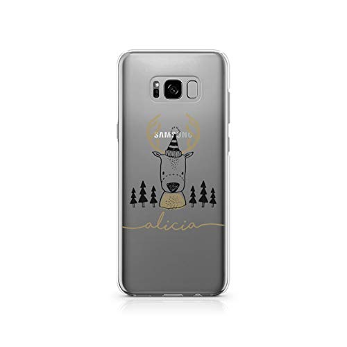 Personalised Samsung Galaxy S7 Edge Tirita Gold Christmas Penguin Reindeer Deer Silicone Clear Soft TPU Rubber Gel Phone Case PRINTED GLITTER, NO REAL GLITTER Custom Initials from Tirita LTD