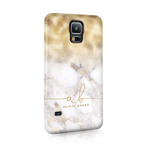 Personalised Samsung Galaxy S7 Edge Tirita Hard Case Cover PRINTED GLITTER, NOT REAL GLITTER Marble Rose Gold Sparkling Fading Textures Custom Initials Name Bling from Tirita LTD