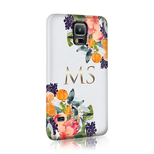 Personalised Samsung Galaxy S8 Plus Tirita Hard Case Cover PRINTED GLITTER, NOT REAL GLITTER Floral Flowers Shabby Chic Autumn Violet Roses Custom Initials Name Bling from Tirita LTD