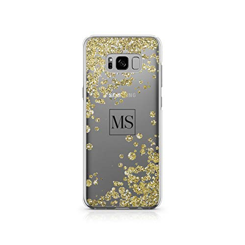Personalised Samsung Galaxy S8 Plus Tirita Rose Gold Drops Polka Dots Bling Festive Elegant Confetti Silicone Clear Soft TPU Rubber Gel Phone Case PRINTED GLITTER, NO REAL GLITTER Custom Initials from Tirita LTD