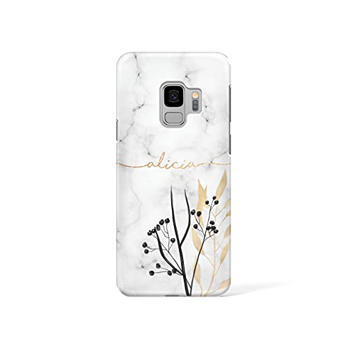 Personalised Samsung Galaxy S8 Tirita Hard Case Cover PRINTED GLITTER, NOT REAL GLITTER Marble Gold Pink Charcoal Floral Flowers Custom Initials Name Bling from Tirita LTD