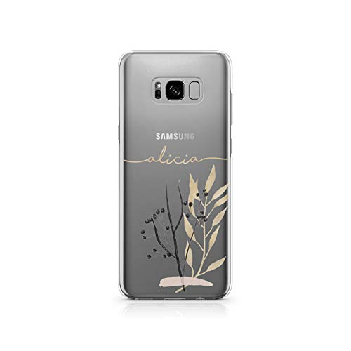 Personalised Samsung Galaxy S9 Plus Tirita Marble Gold Pink Charcoal Floral Flowers Silicone Clear Soft TPU Rubber Gel Phone Case PRINTED GLITTER, NO REAL GLITTER Custom Initials from Tirita LTD