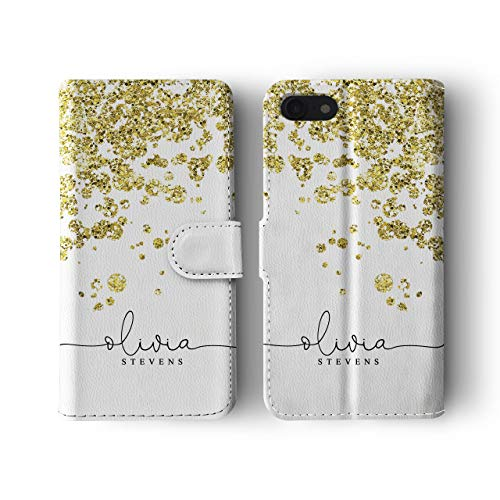 Personalised iPhone 7/8 / SE 2020 Tirita Leather Flip Wallet Case Cover PRINTED GLITTER, NOT REAL GLITTER Rose Gold Drops Polka Dots Festive Elegant Confetti Custom Initials Name Bling from Tirita LTD