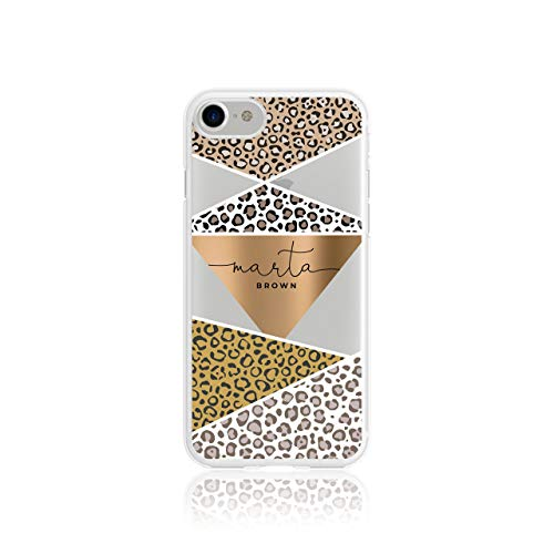Personalised iPhone X & Xs Tirita Animal Print Snake Rose Gold Leopard Skin Giraffe Tiger Africa Silicone Clear Soft TPU Rubber Gel Phone Case PRINTED GLITTER, NO REAL GLITTER Custom Initials from Tirita LTD