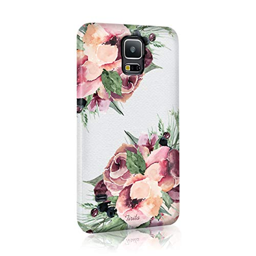 Samsung Galaxy S6 Tirita Hard Case Cover Floral Flowers Shabby Chic Autumn Violet Roses Design from Tirita LTD