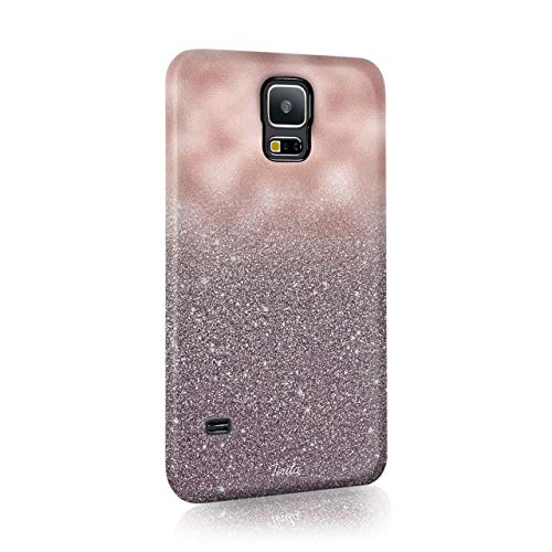 Samsung Galaxy S9 Tirita Hard Case Cover PRINTED GLITTER, NOT REAL GLITTER Marble Rose Gold Sparkling Fading Textures Design Bling from Tirita LTD