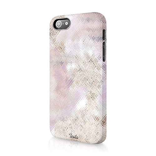 iPhone 5 / 5s / SE 2016 Tirita Hard Case Cover PRINTED GLITTER, NOT REAL GLITTER Marble Rose Gold Sparkling Fading Textures Design Bling from Tirita LTD