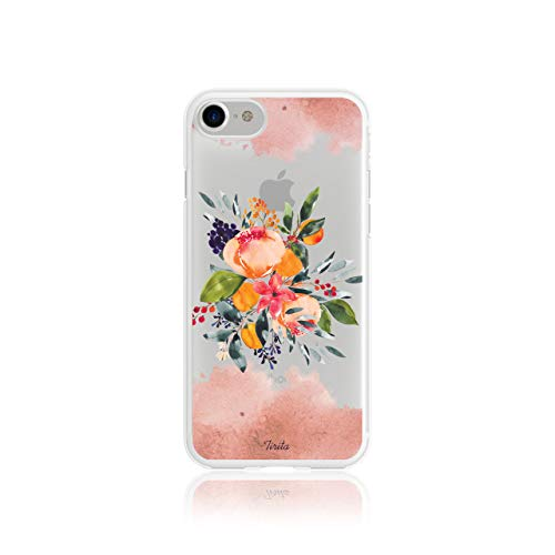 Iphone 7/8 / SE 2020 Tirita Clear Soft TPU Rubber Gel Phone Case Floral Flowers Shabby Chic Autumn Violet Roses from Tirita LTD