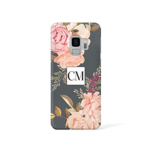 Personalised Samsung Galaxy S6 Tirita Hard Case Cover PRINTED GLITTER, NOT REAL GLITTER Floral Flowers Shabby Chic English Roses Custom Initials Name Bling from Tirita