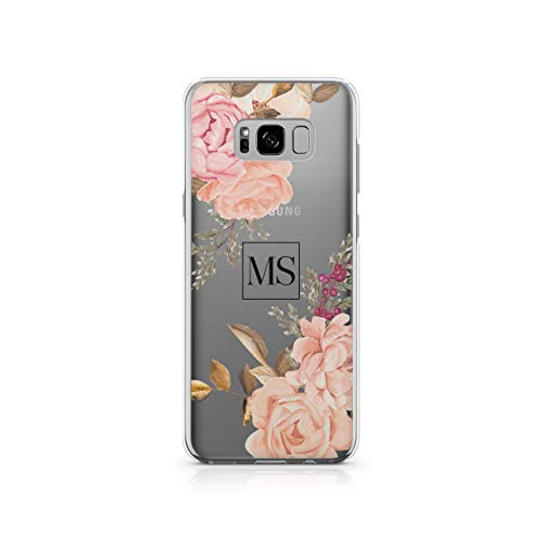 Personalised Samsung Galaxy S8 Plus Tirita Floral Flowers Shabby Chic English Roses Silicone Clear Soft TPU Rubber Gel Phone Case PRINTED GLITTER, NO REAL GLITTER Custom Initials Name from Tirita