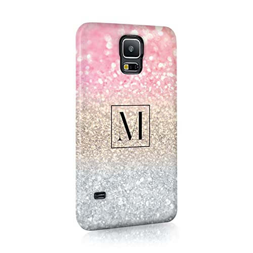 Personalised Samsung Galaxy S5 Tirita Hard Case Cover PRINTED GLITTER, NOT REAL GLITTER Faded Glitter Marble Bling Sparkly Custom Initials Name Bling from Tirita
