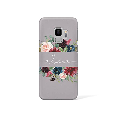 Personalised Samsung Galaxy S8 Tirita Hard Case Cover PRINTED GLITTER, NOT REAL GLITTER Floral Flowers Gold Monogram Spring Custom Initials Name Bling from Tirita