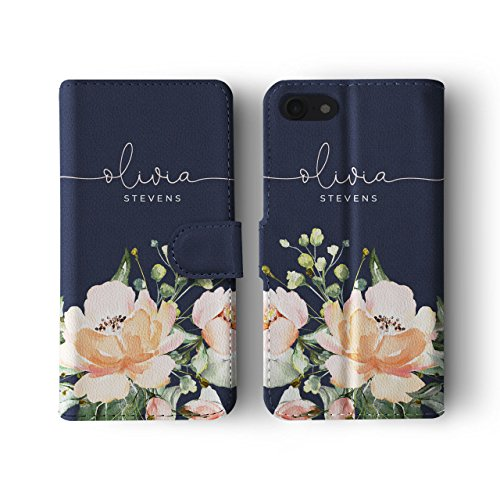 Tirita Personalised Initials Custom Wallet Leather Flip Phone Case Compatible with iPhone 6 Plus & 6s Plus PRINTED GLITTER, NOT REAL GLITTER Shabby Chic Floral Watercolour Pastel Roses from Tirita